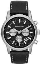 Michael Kors Men's Scout Silver-Tone & Leather Chronograph Watch