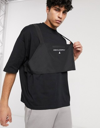 ASOS Unrvlld Supply oversized t-shirt with body harness and logo in reflective print