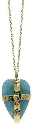 Ippolita Rock Candy 18K Yellow Gold, Milky Aquamarine & Pave Diamond Large Heart Pendant Necklace