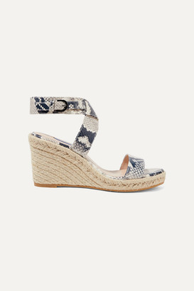 Stuart Weitzman Lexia Snake-effect Leather Espadrille Wedge Sandals - Snake print