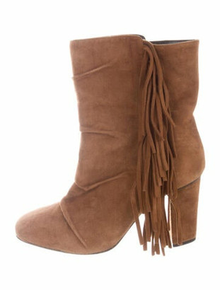Giuseppe Zanotti Suede Fringe Trim Accent Boots Brown