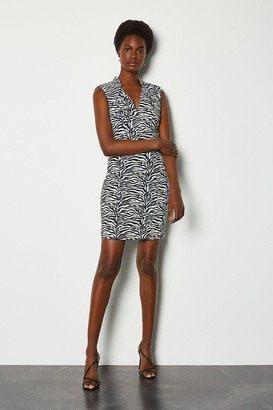 Karen Millen Jacquard Cut Out Mini Dress