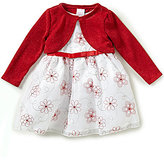 Sweet Heart Rose Baby Girls Newborn-24 Months Solid Cardigan & Floral-Embroidered Metallic Dress Set