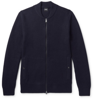 HUGO BOSS Slim-Fit Ribbed Cotton And Virgin Wool-Blend Zip-Up Cardigan