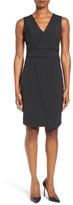 T Tahari Dolce Asymmetric Pinstripe Front Sheath Dress