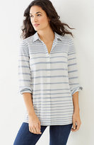 J. Jill Mixed-Stripes Button-Front Tunic