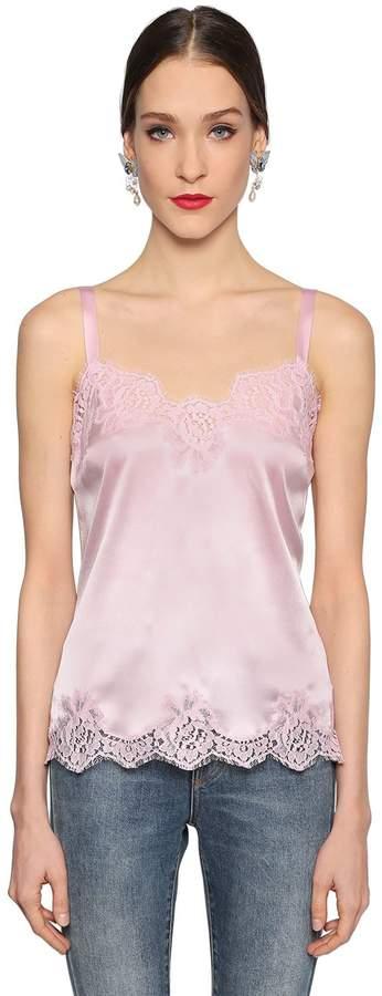 Dolce & Gabbana Silk Satin & Lace Top