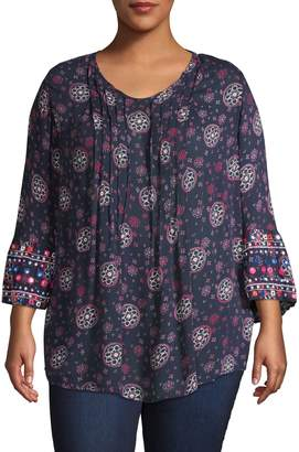 Style&Co. Style & Co. Plus Three-Quarter-Sleeve Geo Print Top