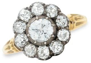 Stephanie Windsor Victorian 18K Yellow Gold, Silver & Diamond Halo Ring