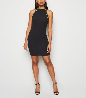 New Look AX Paris Button Trim Bodycon Dress