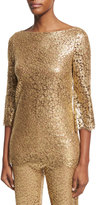 Michael Kors Metallic Lace 3/4-Sleeve Tunic, Gold