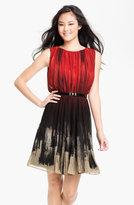 Calvin Klein Gradient Print Belted Chiffon Dress