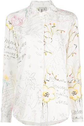 L'Autre Chose button down Notes & flowers print blouse