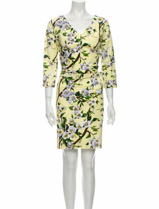 Samantha Sung Floral Print Knee-Length Dress Yellow