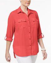 NY Collection Plus Size Windowpane Utility Shirt