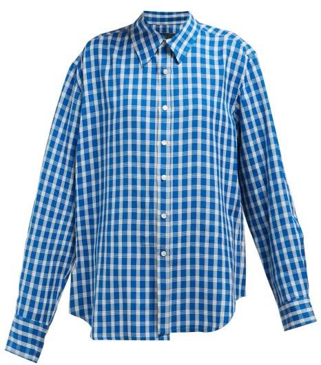 Martine Rose Wonky Checked Shirt - Womens - Blue