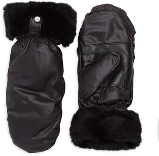 UGG Shearling-Cuff & Leather-Trim Mittens