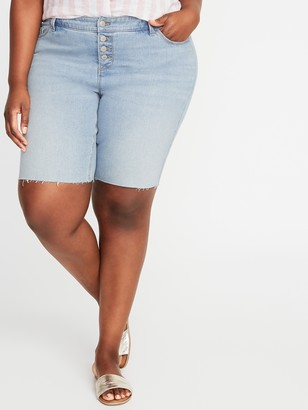 Old Navy Mid-Rise Secret-Slim Pockets Button-Fly Plus-Size Jean Bermuda Shorts - 9-inch inseam
