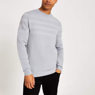 River Island Mens Grey slim fit ribbed long sleeve jumper