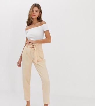 Miss Selfridge paperbag pants in nude