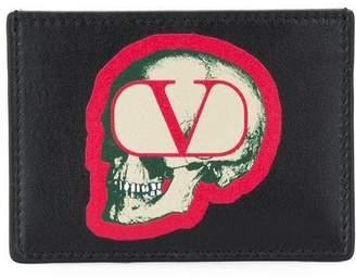 Valentino skull v logo card holder