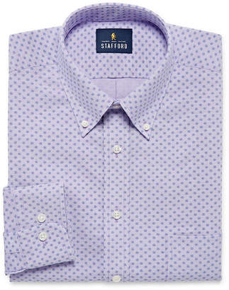STAFFORD Stafford Travel Wrinkle-Free Stretch Oxford Big And Tall Mens Button Down Collar Long Sleeve Wrinkle Free Stretch Dress Shirt