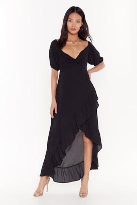 Nasty Gal Womens Frill the Morning Comes Ruffle Midi Dress - Black