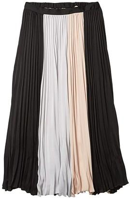 BCBGMAXAZRIA Pleated Midi Skirt (Black Combo) Women's Skirt