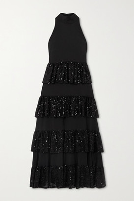 Caroline Constas Iris Tiered Ruffled Sequin-embellished Crepe Midi Dress - Black