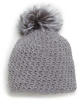 Saks Fifth Avenue Fox Fur Pom-Pom Knit Cap