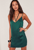 Missguided Green Silky Cami Dress