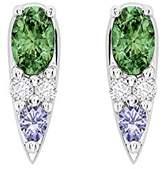 Nikos Koulis Women's 18ct White Gold Oval Green Tsavorite Blue Lolites White Diamonds Stud Earrings