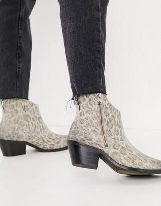 AllSaints carlotta western boots in stone leopard suede