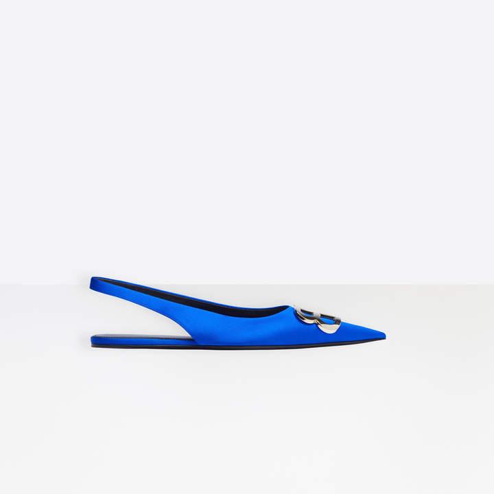 Balenciaga BB Flat Slingback Ballerina in electric blue stretch satin