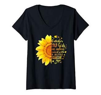 Womens Womans October Girls 1969 Shirt 50th Birthday Sunflower V-Neck T-Shirt