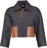 Michael Kors Cropped leather-paneled denim jacket