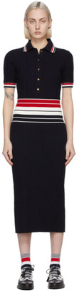 Thom Browne Navy Accordion Pleated Polo Dress