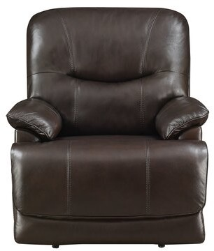Red Barrel Studio Kaul Leather Power Recliner Fabric: Espresso