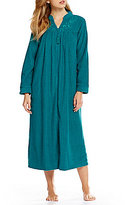 Miss Elaine Floral-Embroidered Terry Tasseled Zip Robe