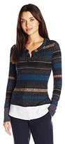 Democracy Women's Knit Striped Rib Two-Fer with Woven Trim