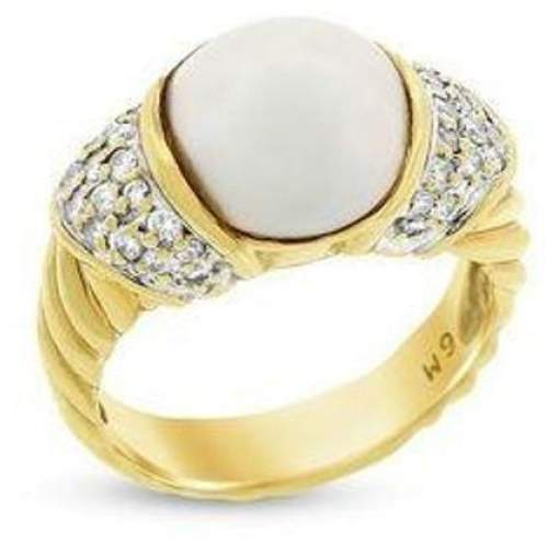 David Yurman 18K Yellow Gold Pearl and Diamonds Ring Size 5