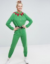 Asos Holidays Elf Onesie in Fleece