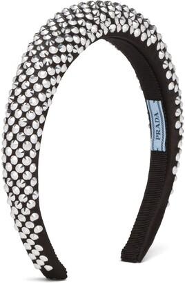 Prada Crystal-Embellished Satin Headband
