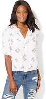 New York & Co. Soho Soft Shirt - Bubble-Hem Popover - Deer Print