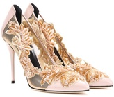 Oscar de la Renta Embellished patent leather and mesh pumps