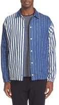 TOMORROWLAND Men's Multistripe Coach Snap Front Shirt