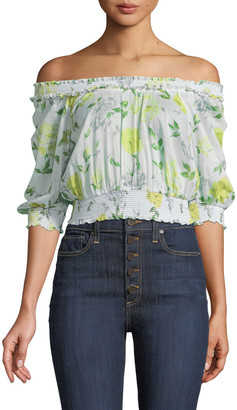 Cinq à Sept Heidi Off-the-Shoulder Floral Smocked Top