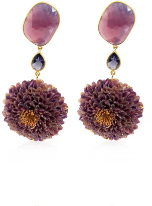 Dahlia Bahina Real Dahlia, Sapphire, Iolite 18K Yellow Gold Earrings