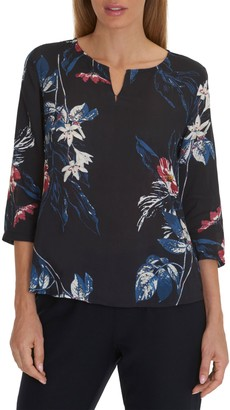 Betty & Co. Floral Print Tunic, Dark Blue