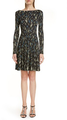 Erdem Floral Print Long Sleeve Fit & Flare Dress